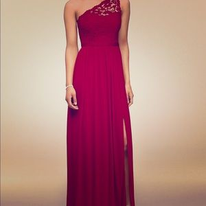 lace one shoulder, floor length bridesmaid dress